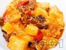 Рецепта Варен гювеч с телешко месо, картофи, патладжани и моркови в тенджера
